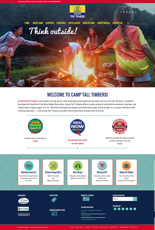 Summer Camp website design
