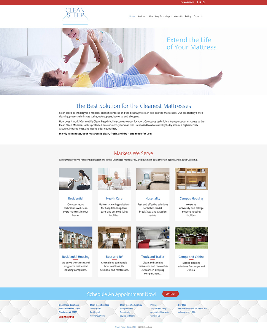 Clean Sleep home page